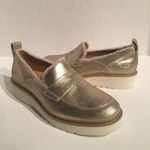 Ugg Atwater Spill Seam Metallic Gold Loafer